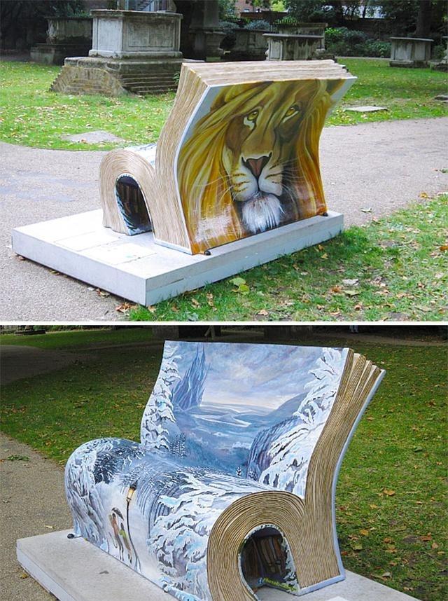 书本造型设计的创意户外休闲椅,这个放动物园再合适不过.