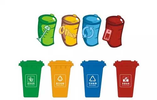一只只垃圾桶,边上一排晾着几十只刚洗干净的垃圾桶