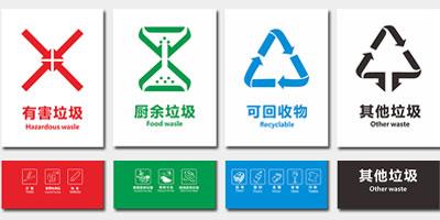 垃圾分类亭收集站配tao垃圾桶新款丝yin分类biao识