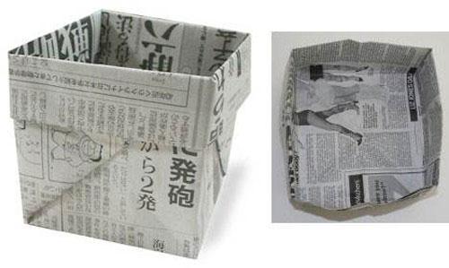 用纸折垃圾桶手工怎么折,学手工制作折纸垃圾桶